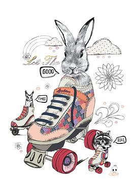 T恤图案设计手绘卡通动物兔子-兔子cdr图片素材 兔子cdr图片素材下载 图片