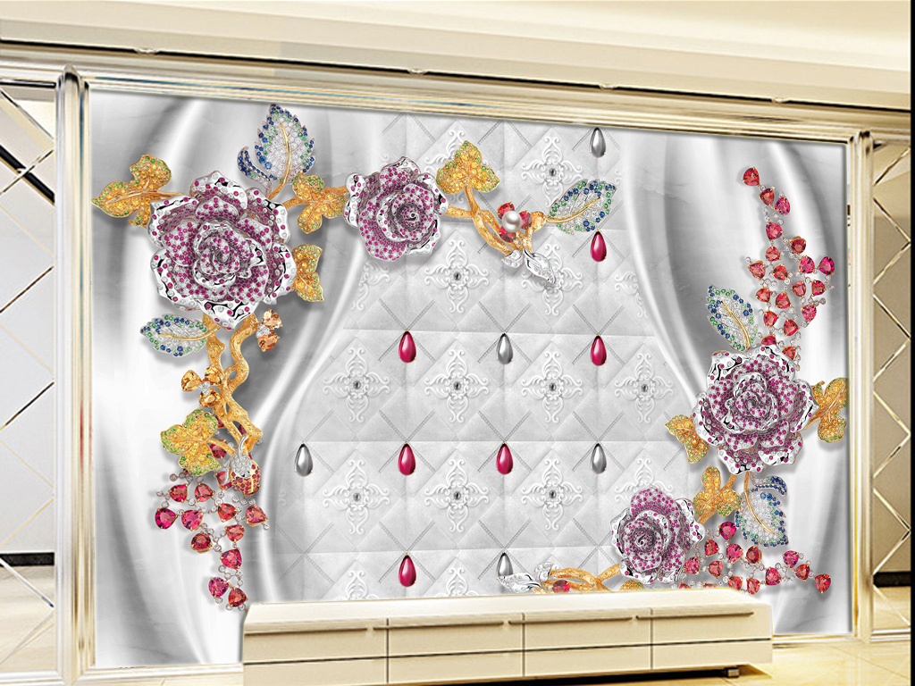 欧式珠花软包壁画客厅电视背景墙图片素材 psd效果图下载 珠宝背景墙图大全 电视背景墙编号 16234948