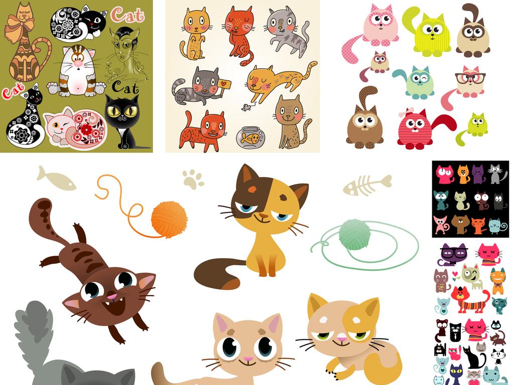 猫矢量图卡通动漫猫咪家猫可爱创意花猫合集