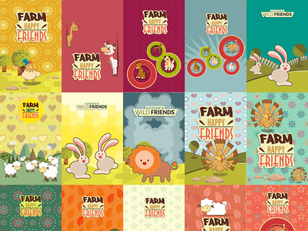 矢量图卡通封皮信纸童装图案可爱动物背景图