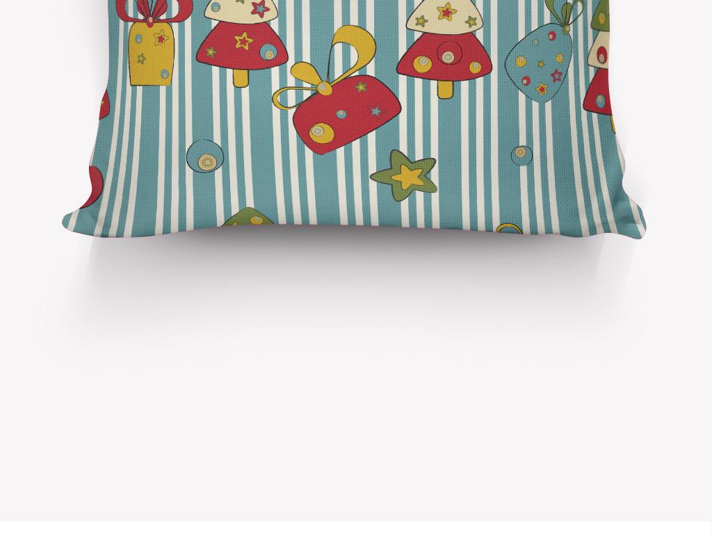设计作品简介: 卡通可爱圣诞树雪花抱枕图案 矢量图, rgb格式高清大图