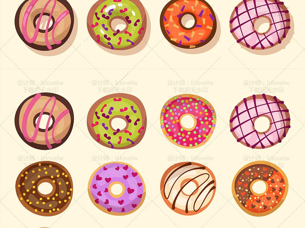 卡通矢量甜甜圈甜品素材