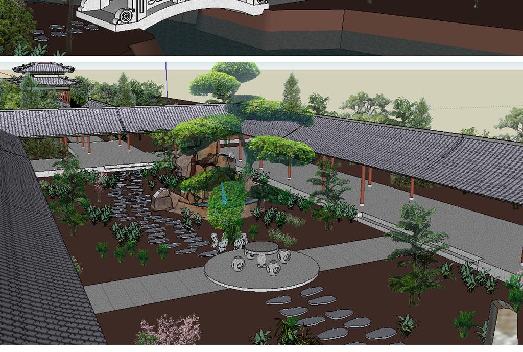 中式公园景观园林su模型