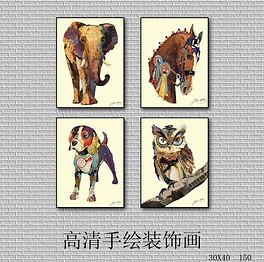 北欧简约手绘动物装饰画无框画