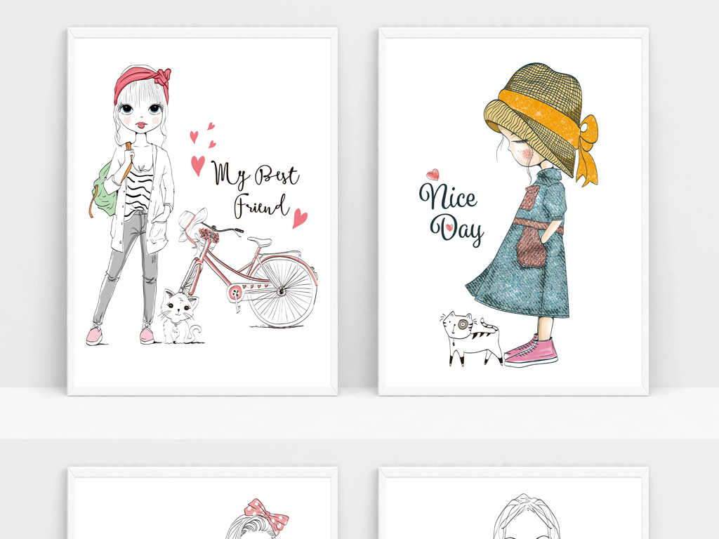 可爱简约装饰画女孩子卡通手绘