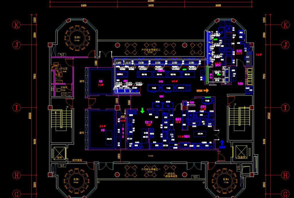新疆烧烤后厨全套cad施工图平面设计图下载(图片7.87)