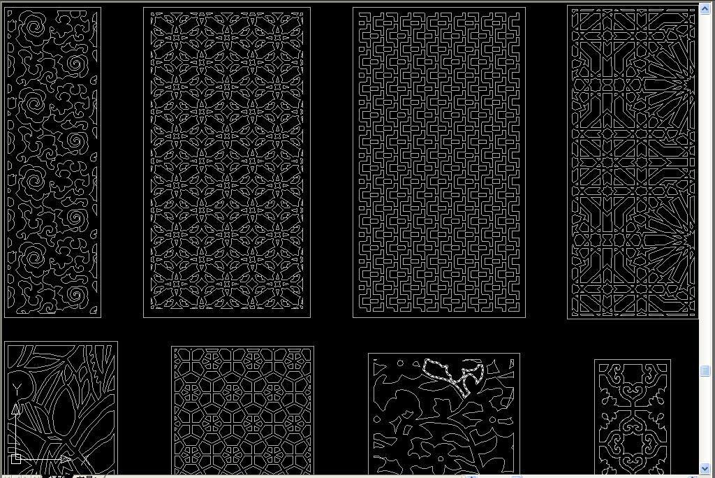 dwg)窗花屏风雕花cad设计图经典中式花格cad图库整木花格cad欧式花格
