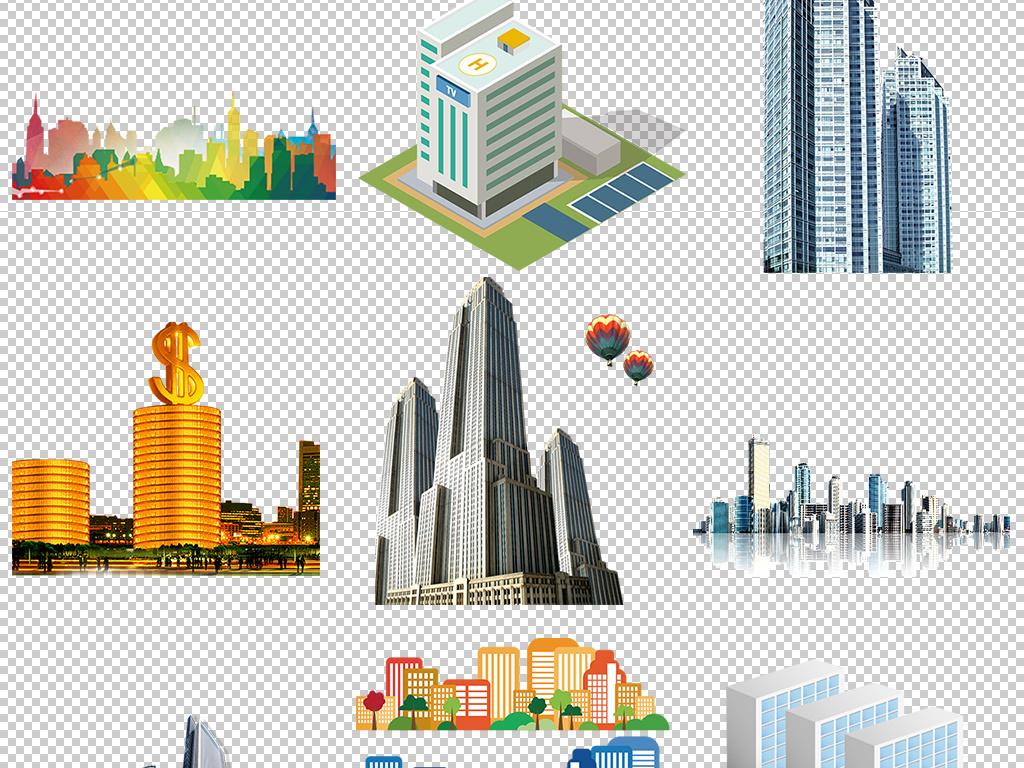 卡通高楼大厦科技商务矢量png设计元素
