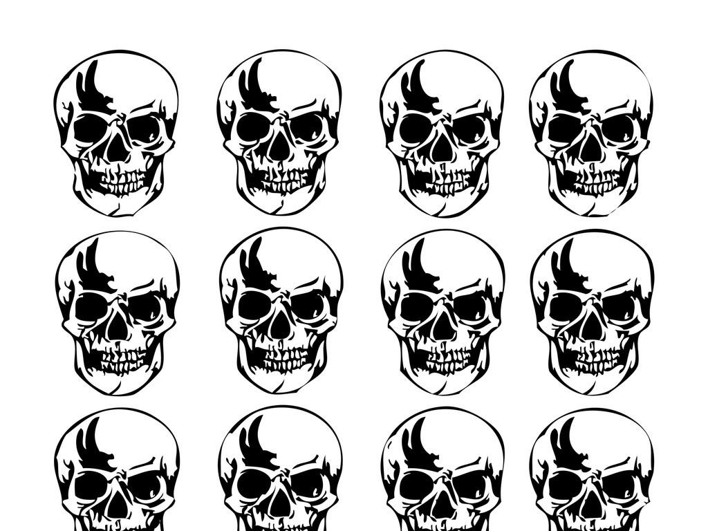 作品模板源文件可以编辑替换,设计作品简介: 骷髅头抱枕图案设计 矢量