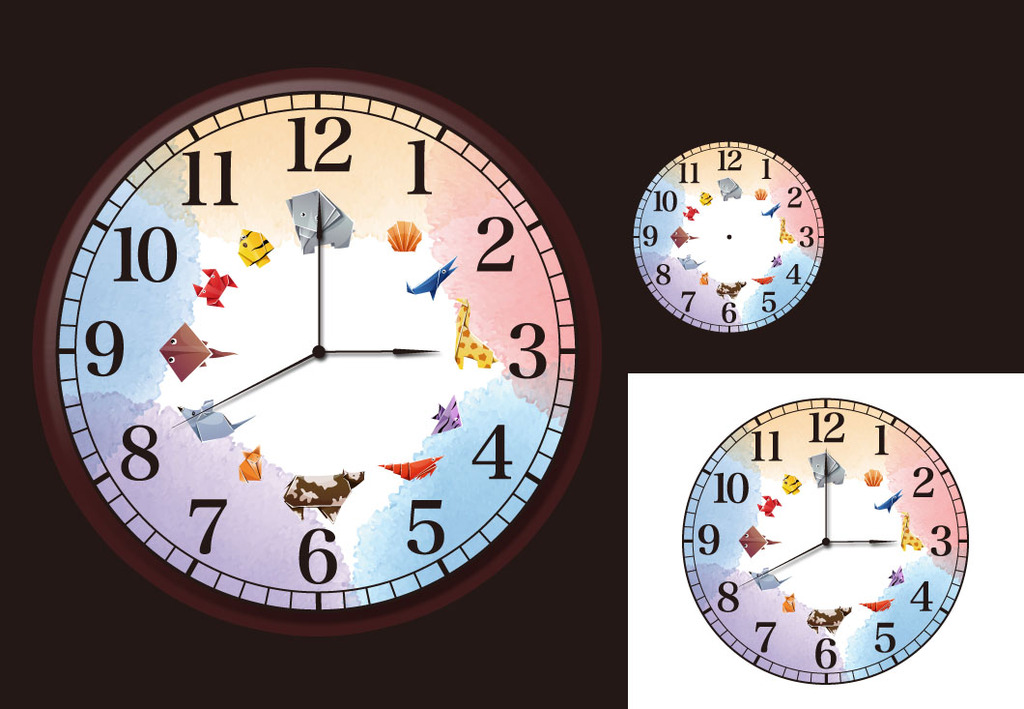背景墙|装饰画 其他 装饰画 > 彩色儿童动物折纸可爱益智简洁表盘钟表