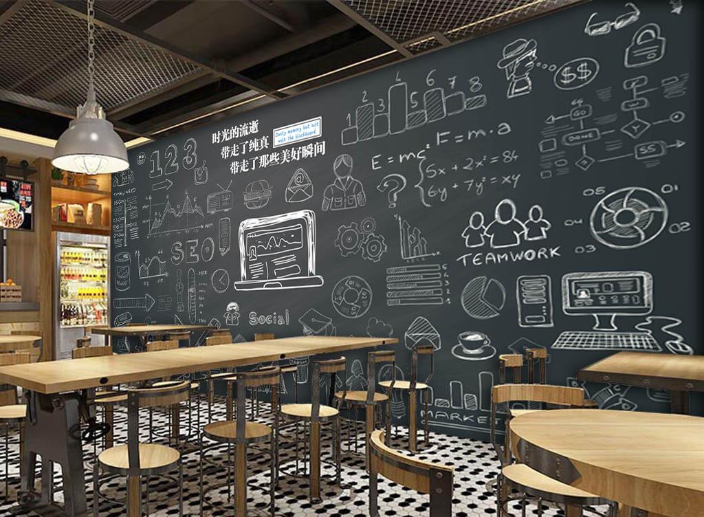 欧美手绘黑板粉笔字酒吧咖啡店背景墙
