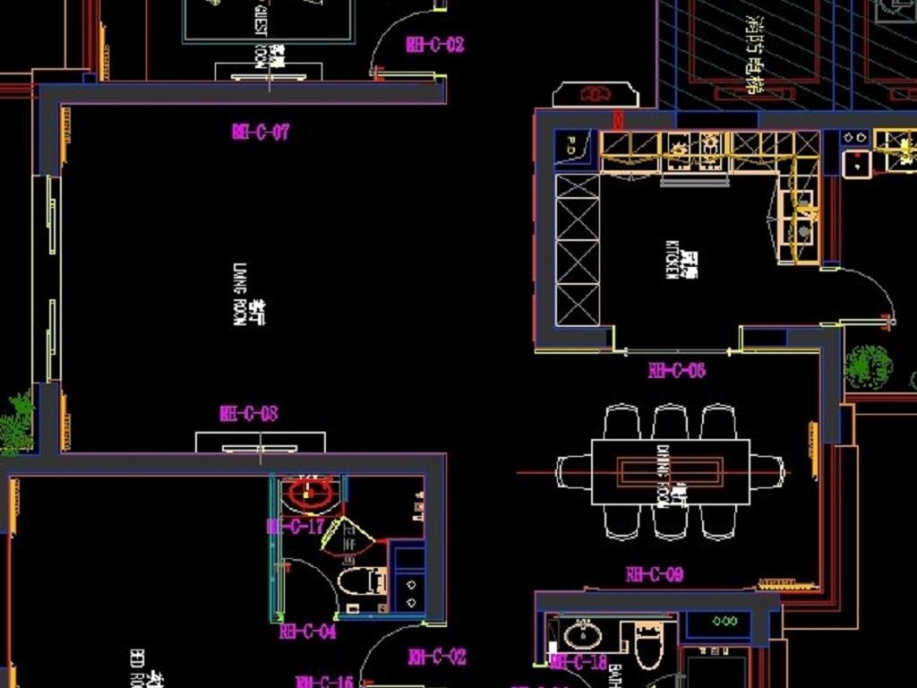 三室两厅加工图纸平面设计图下载(图片2.89mb)_全套