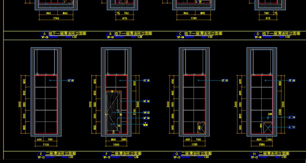 设计cad施工图纸卫生间cad立面卫生间平面残卫cad卫生间洁具cad厕所ca
