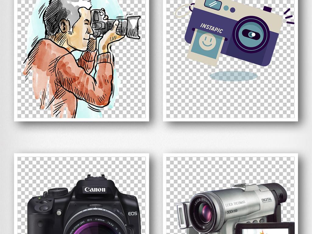 彩色手绘相机摄影图标素材