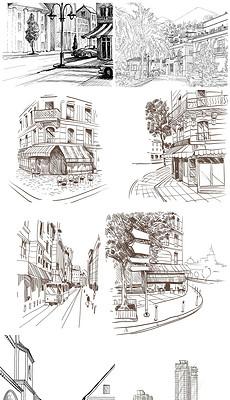 手绘城市素描风景铅笔画街道插画楼房大厦-风景图片素材 风景图片素