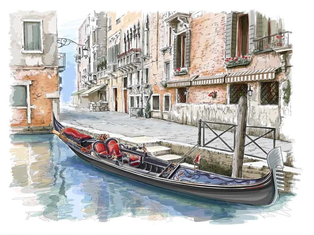 手绘城市素描风景铅笔画街道插画楼房大厦