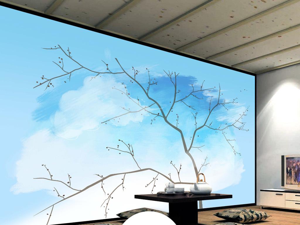 新中式手绘工笔花鸟树电视背景墙装饰画