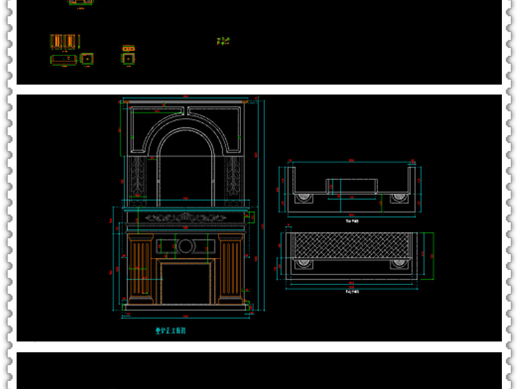 背景墙和壁炉cad立面图平面设计图下载(图片0.33mb)