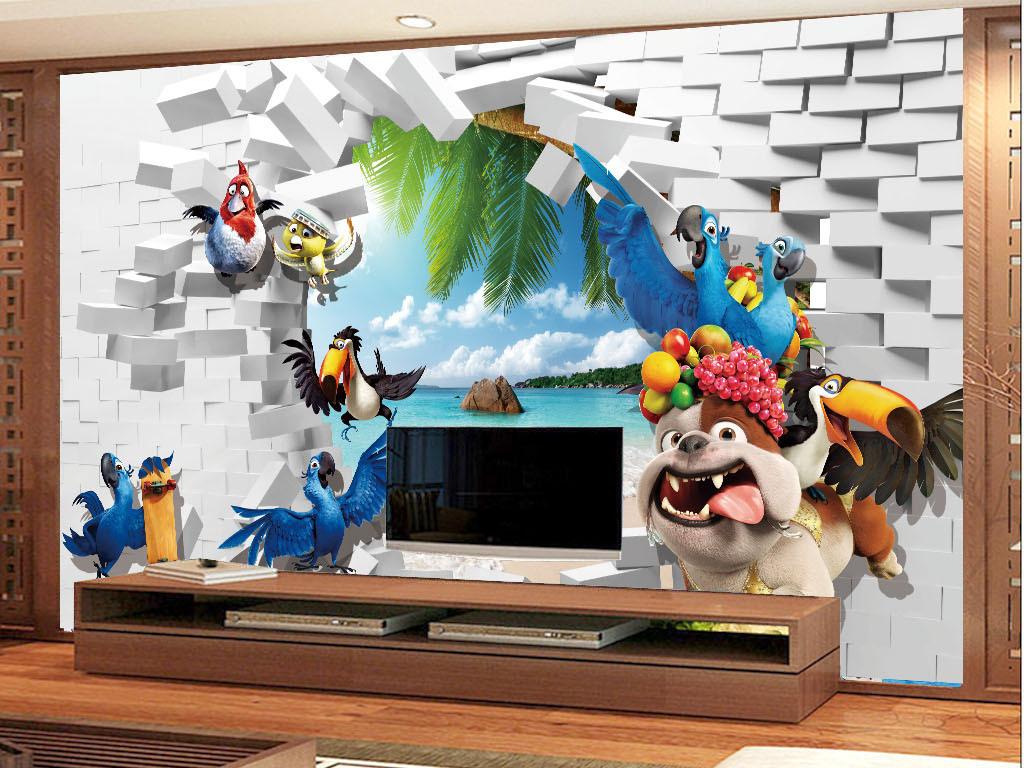 小动物砖瓦3d风景背景墙壁画
