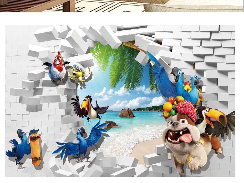 小动物砖瓦3d风景背景墙壁画图片设计素材_高清psd(.