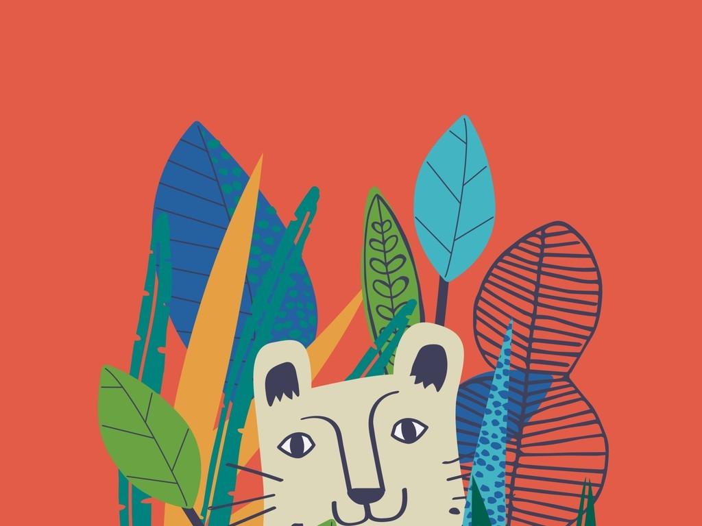 卡通动物图案设计树叶