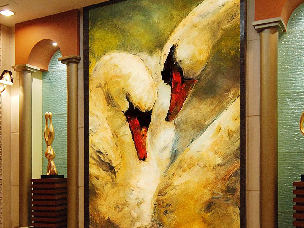 两只白天鹅欧美现代印象派简约复古玄关壁画图片