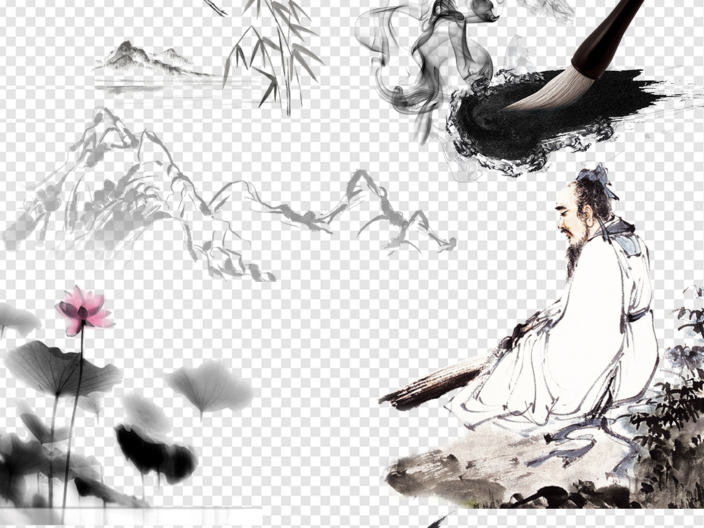 古代古典水墨山水画中国风海报素材