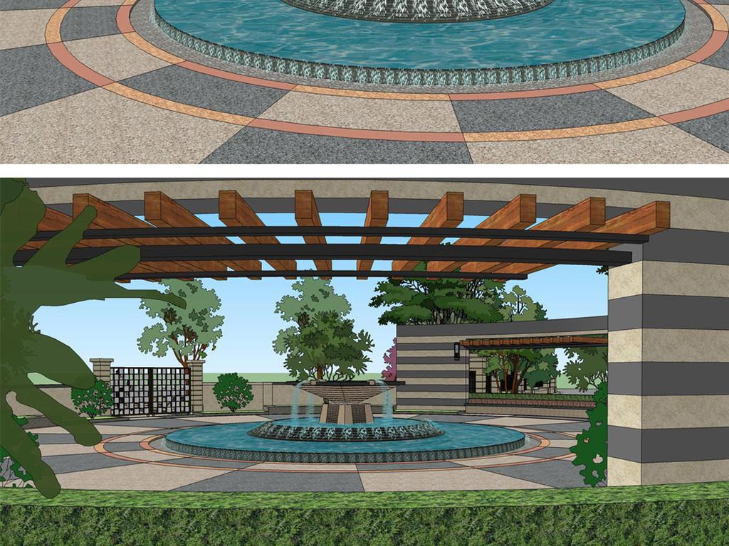 圆形小广场景观su模型