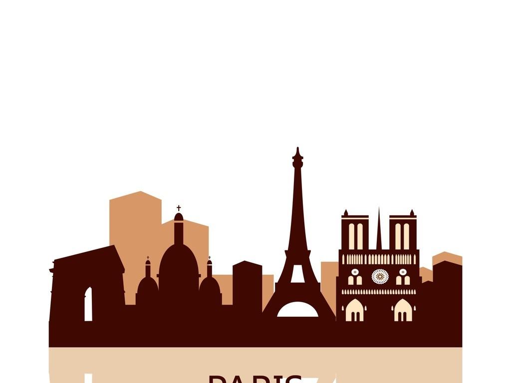 风景建筑矢量图巴黎铁塔埃菲尔铁塔