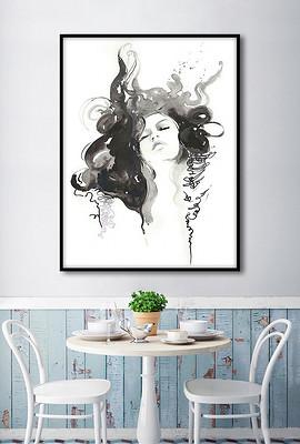黑白手绘水彩美女欧美现代时尚人物装饰画