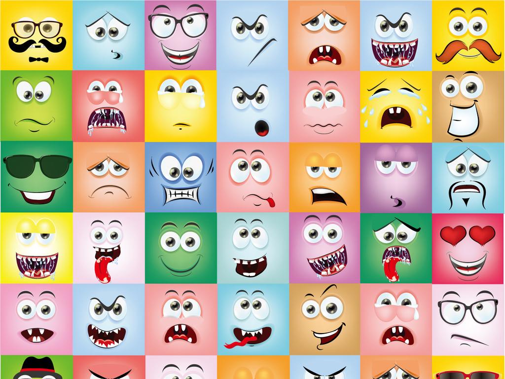 可爱表情包头像图标卡通喜怒哀乐做鬼脸