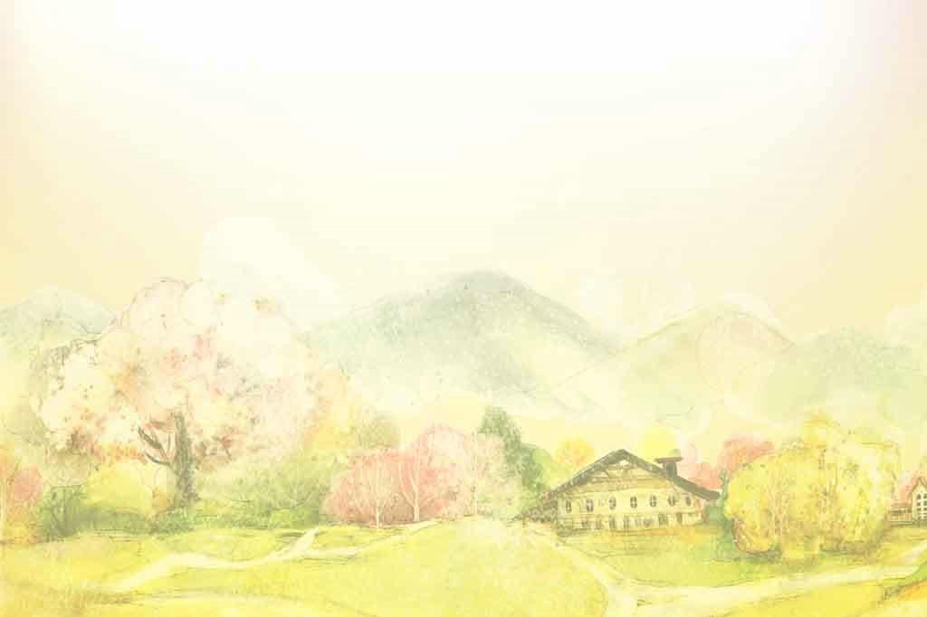 手绘渲染风景信纸