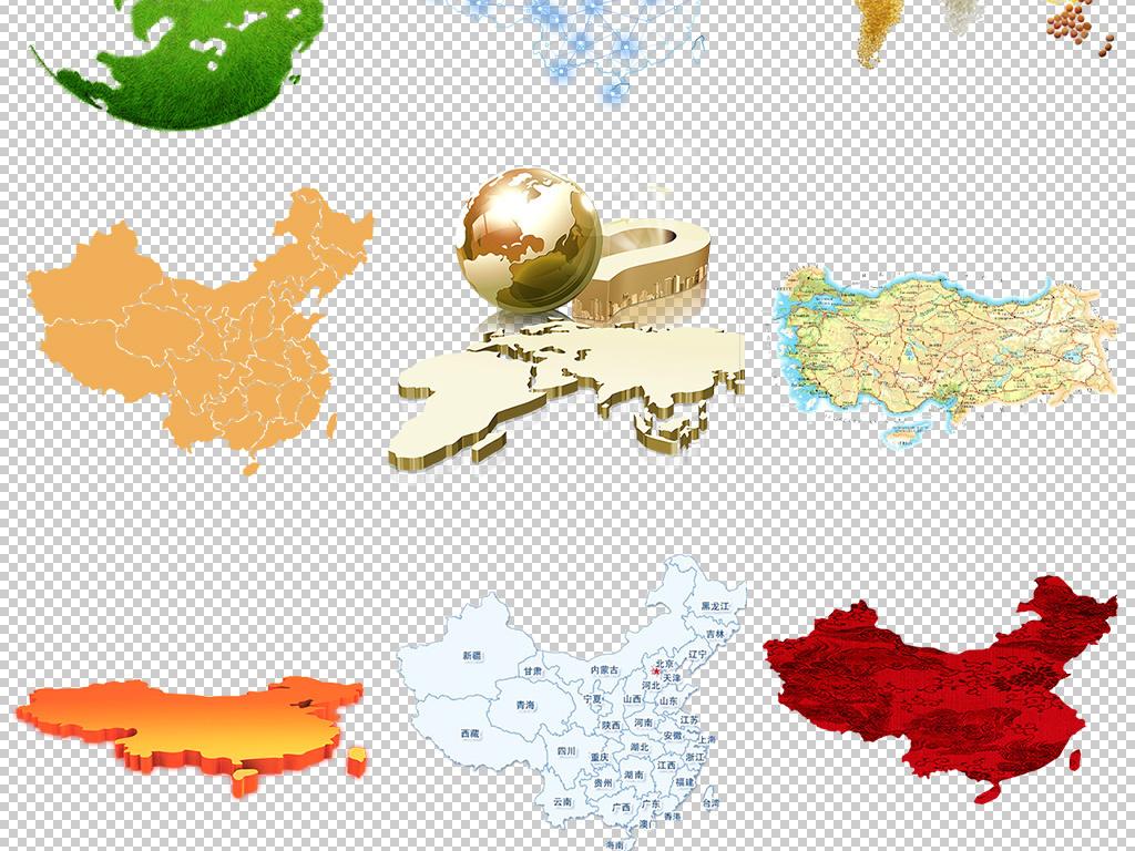 卡通手绘中国地图世界地图设计元素png图片素材_高清