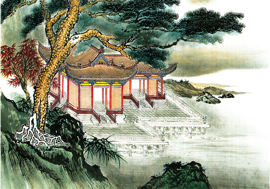 背景墙|装饰画 玄关 中式玄关 > 中式涧溪楼阁迎客松玄关背景墙  版权