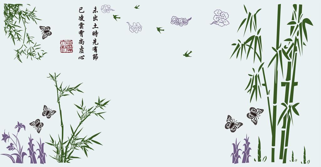电视墙硅藻泥图案竹子
