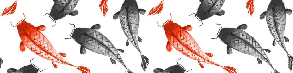 中国风素材水墨画金鱼鲤鱼毛笔画小鱼