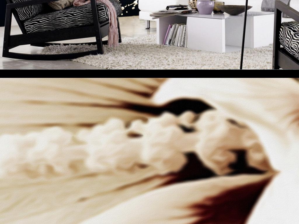 现代个性黑白白色百合装饰背景墙图片