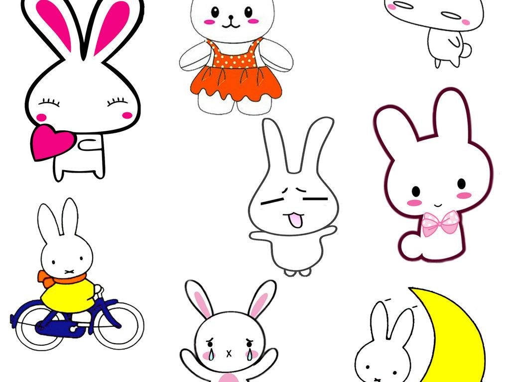 手绘插画可爱兔子卡通小白兔设计元素ps海报素材png