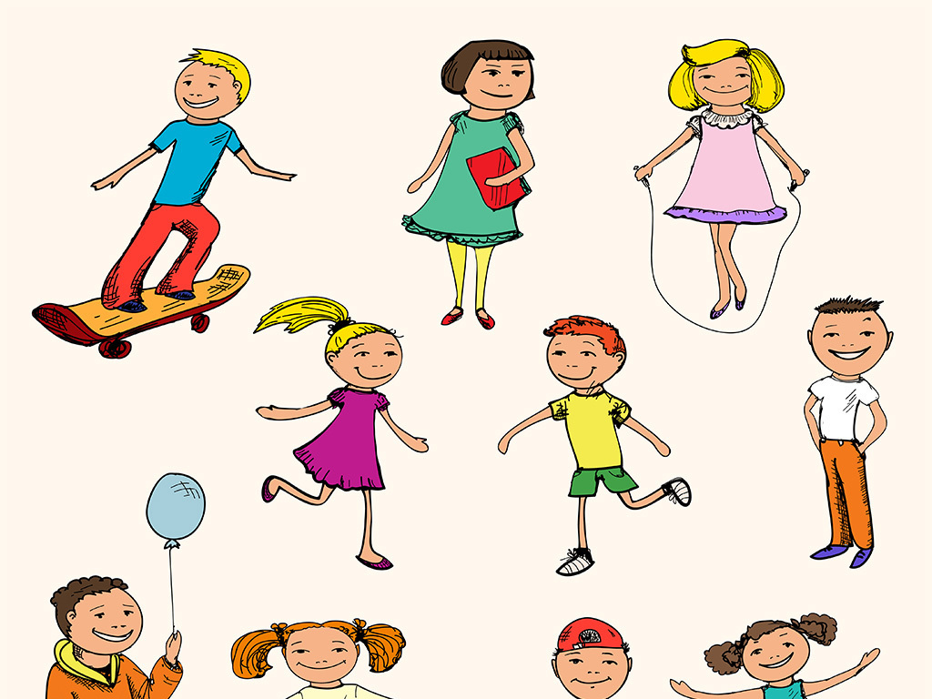 手绘儿童玩耍图片