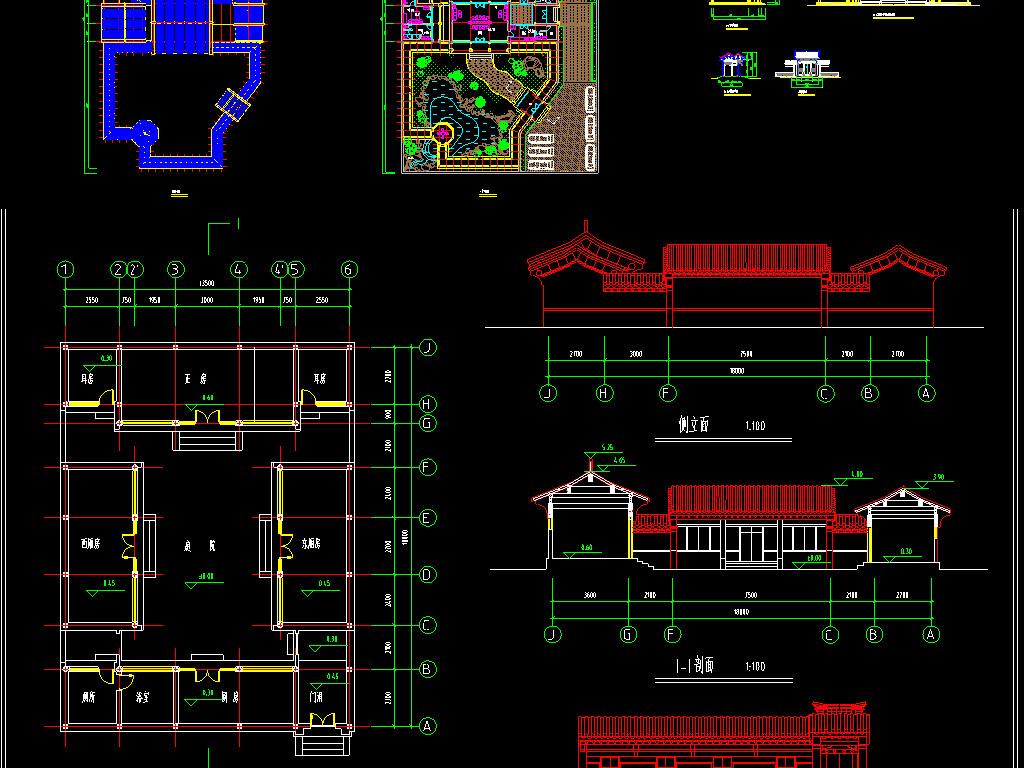 dwg)2套四合院cad平面图古建筑北京四合一房屋住宅cad建筑图仿古古典
