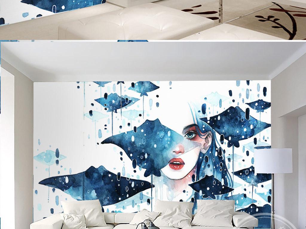 高清唯美手绘水彩女孩蝴蝶背景墙