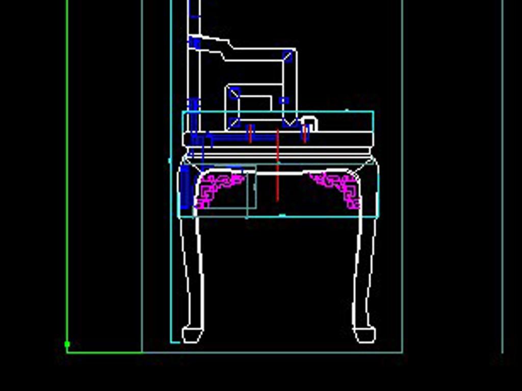 中式古典栈道扶手椅明清家具CAD云纹图纸玻璃图纸图片
