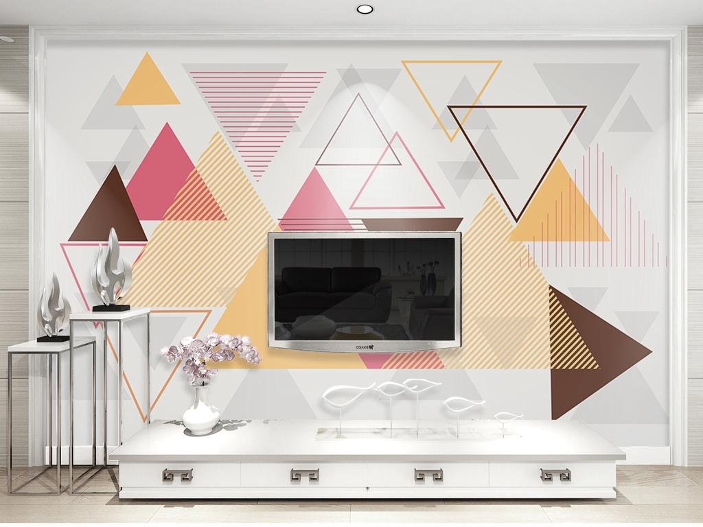 北欧简约风几何形构成背景墙壁纸装饰画图片设计素材 高清psd模板下载 7.73MB 现代简约电视背景墙大全