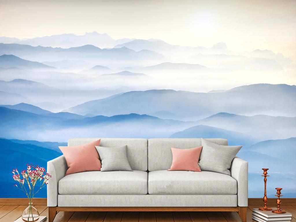 客厅沙发床头新中式手绘风景山水画背景