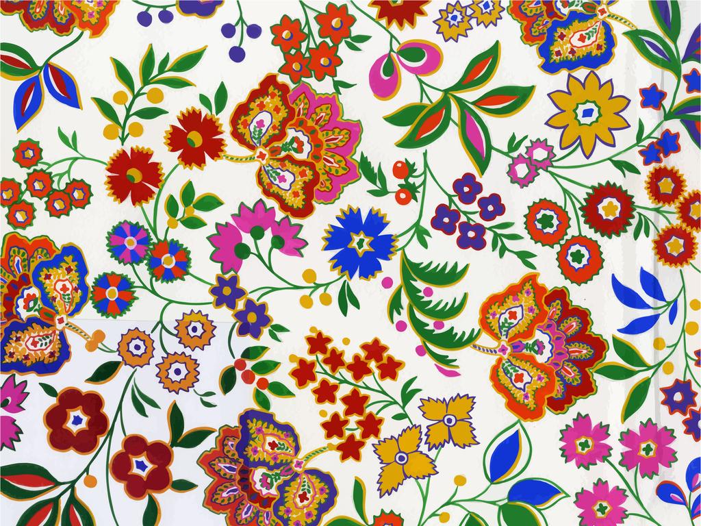 设计元素 背景素材 其他 > 民俗花卉图案印花
