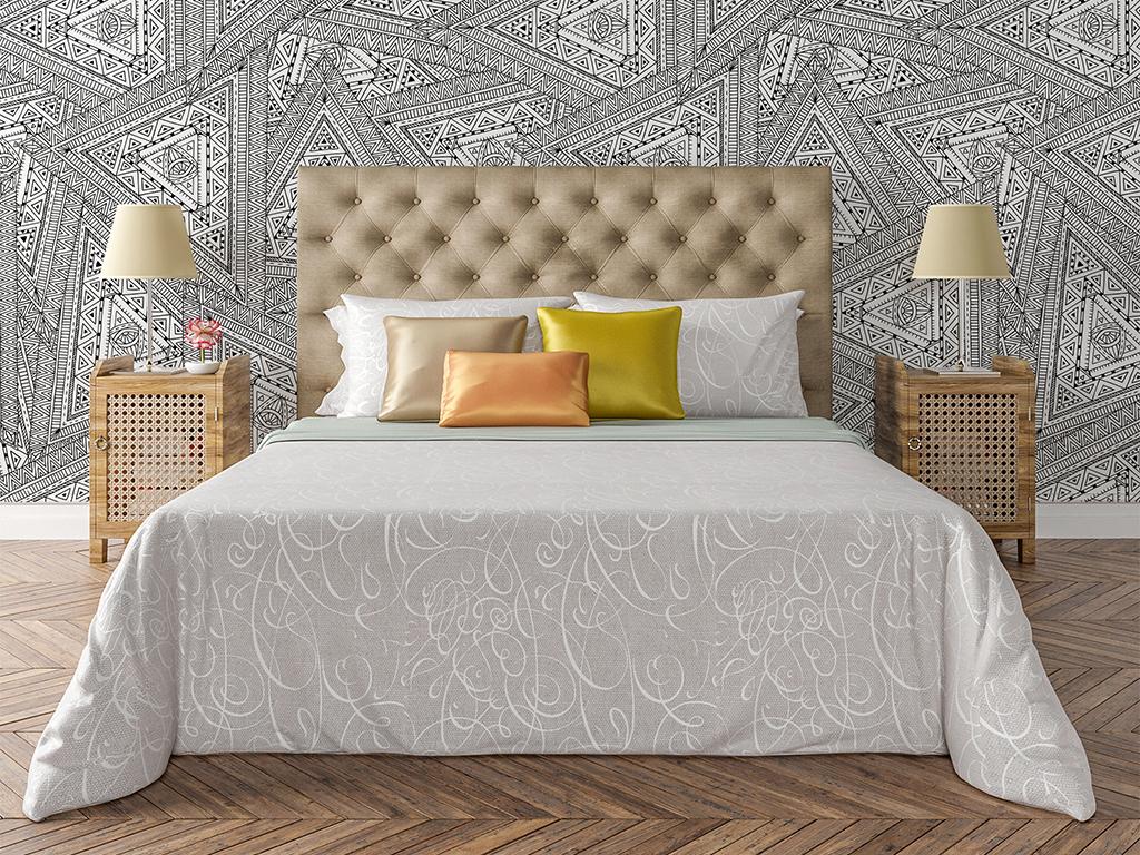 手绘简约黑白线条客厅卧室壁纸墙纸图案22