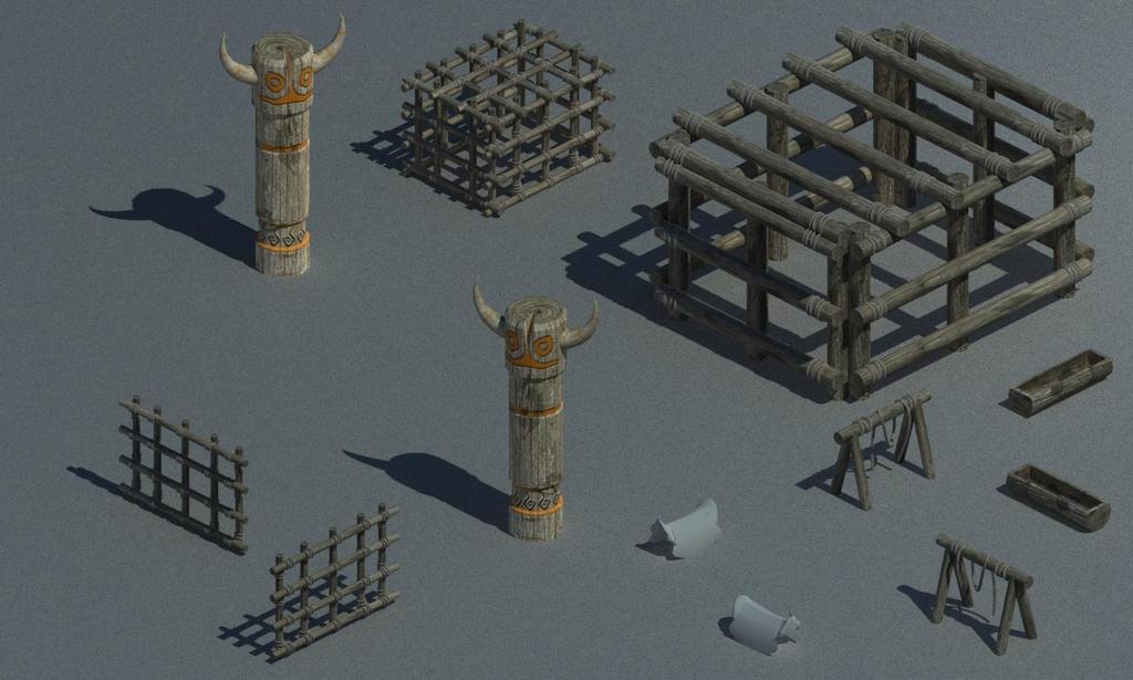 游戏部落木头素材野兽木笼子木柱子