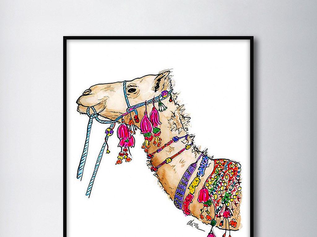 西域骆驼北欧手绘卡通可爱现代家居装饰画