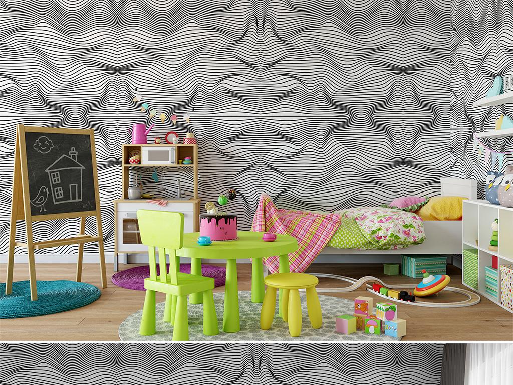 手绘简约黑白线条客厅卧室壁纸墙纸图案28