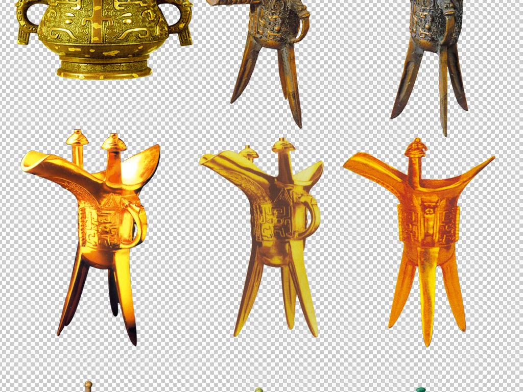 中国古代传统古典青铜器青铜酒杯酒樽素材